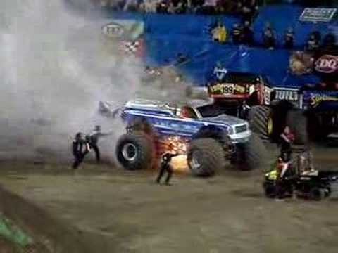 Stunt Gone Wrong Monster Truck Caught On Fire